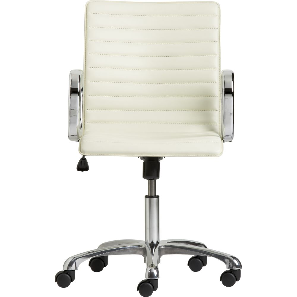 Ivory Leather Office Chair