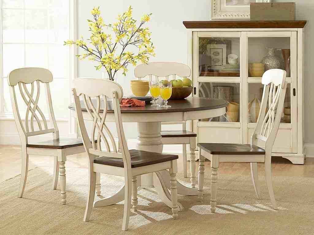 Antique Round White Kitchen Table And Chairs Decor