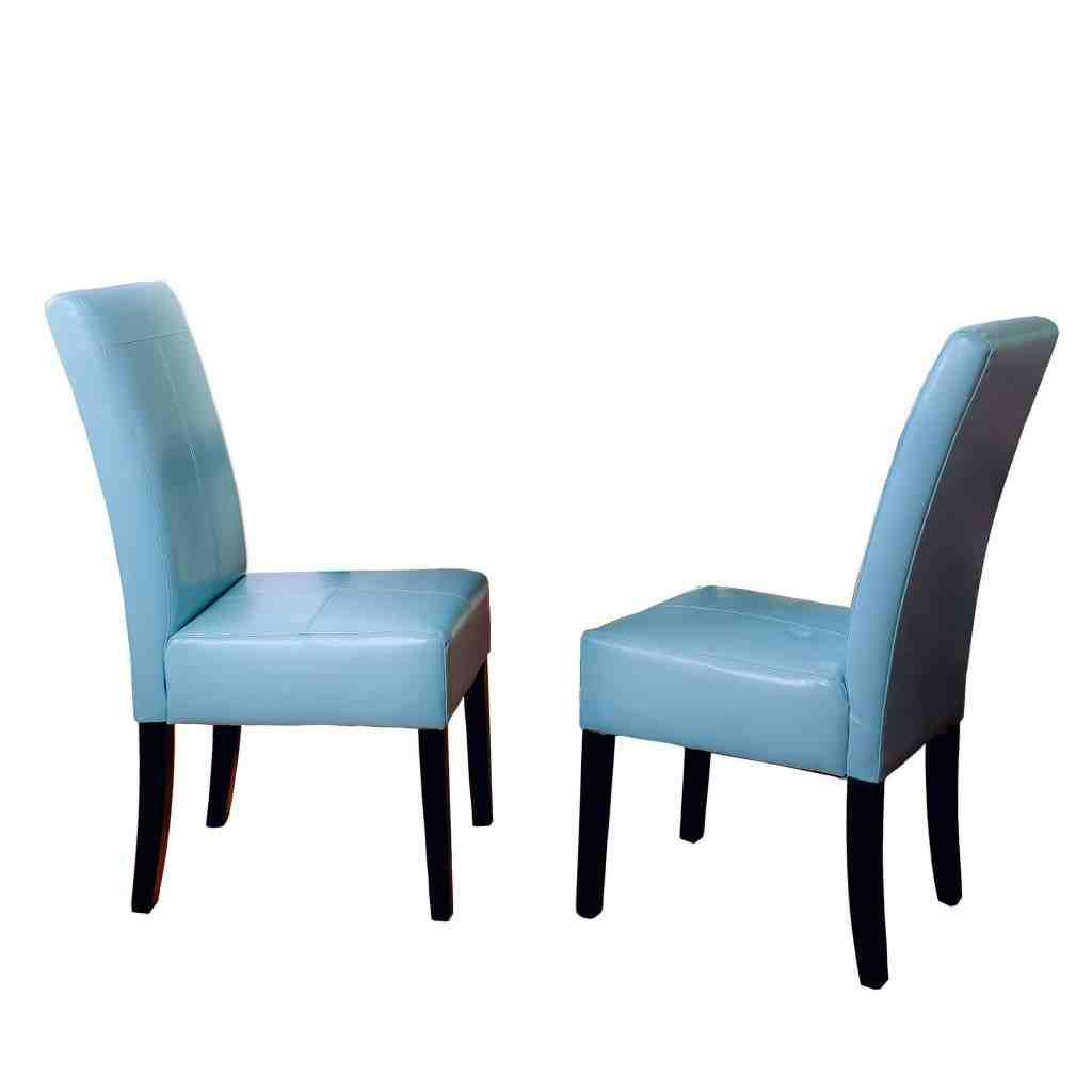 Blue Leather Dining Chairs