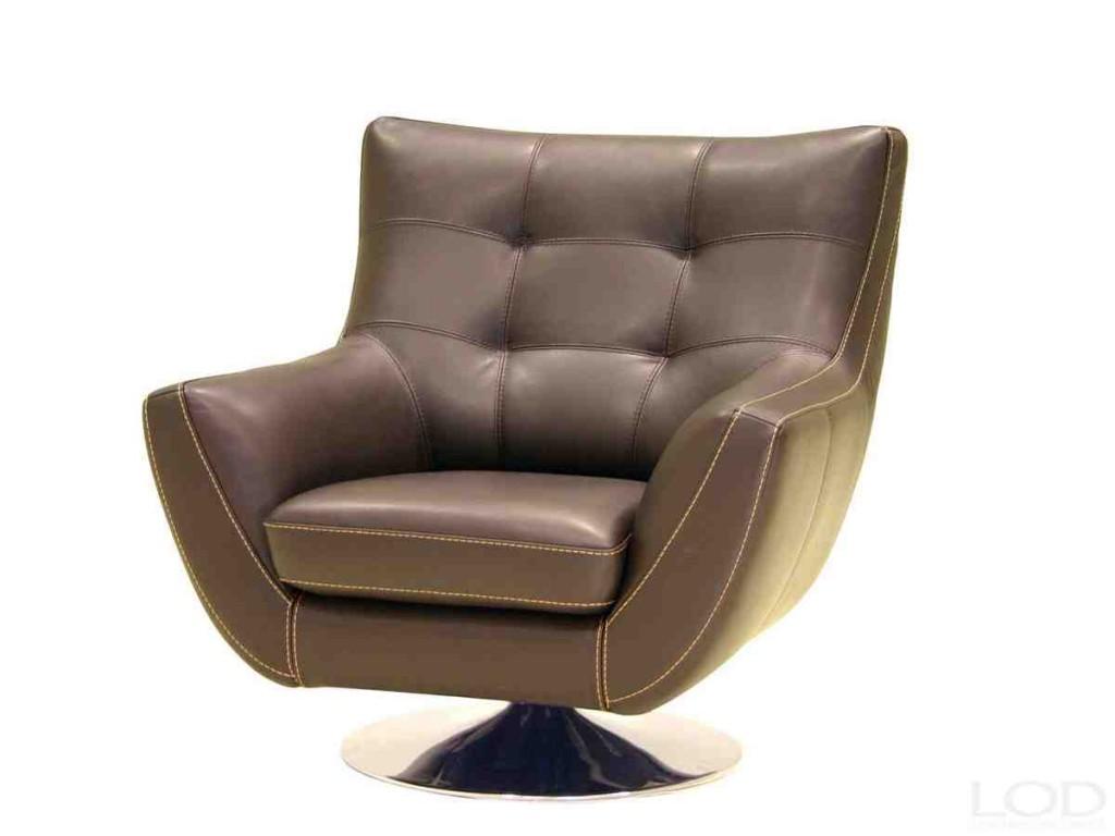 Leather Swivel Club Chair