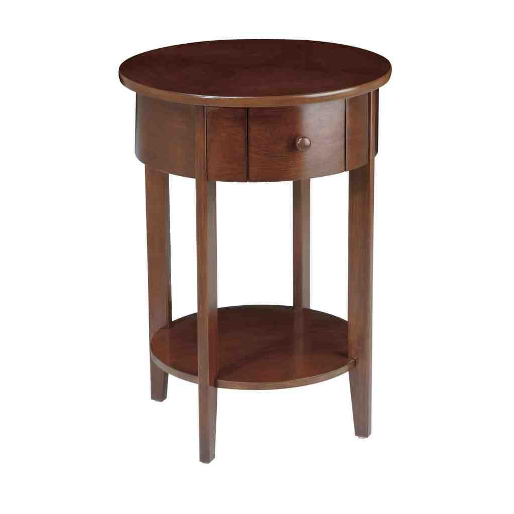 Round Espresso End Table