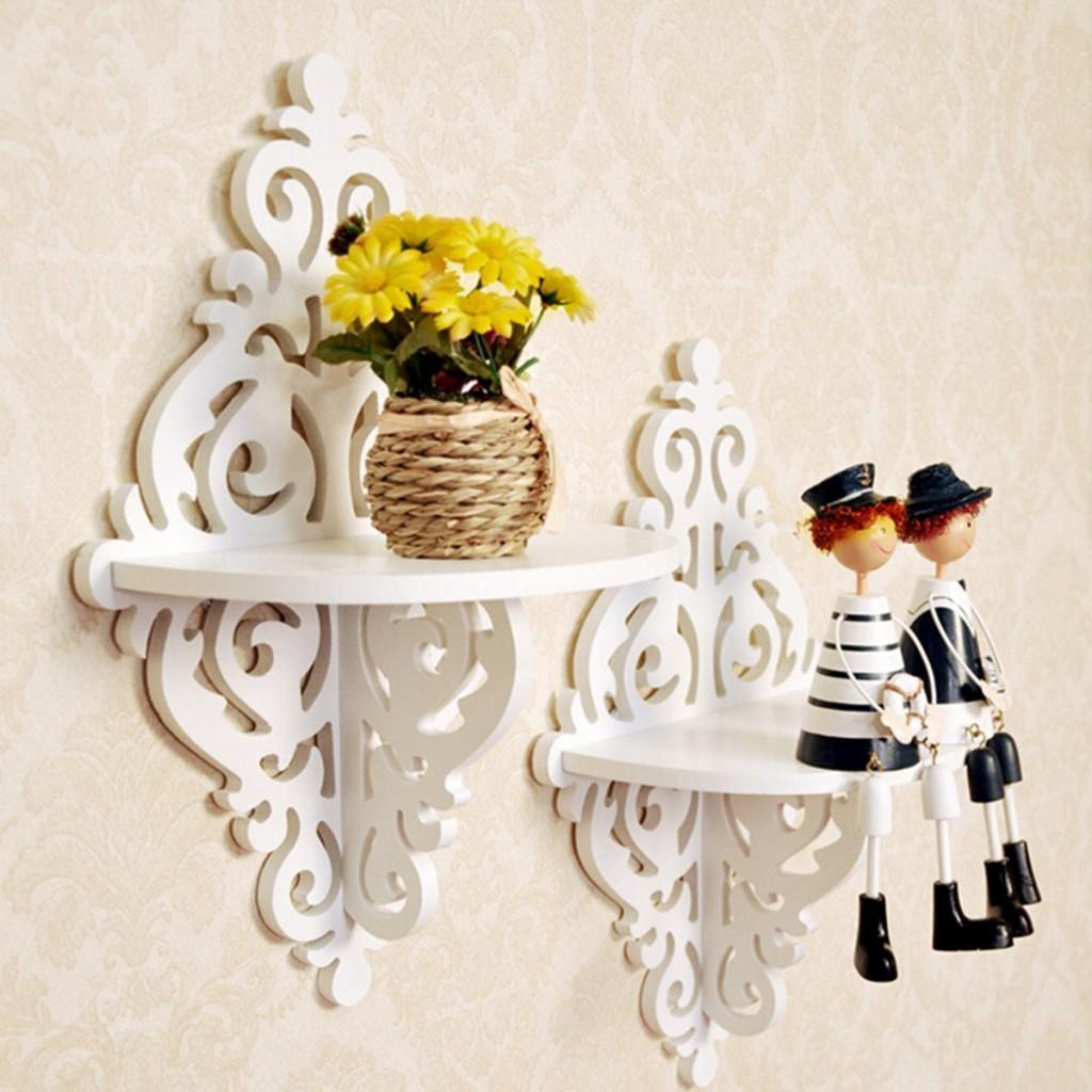 White Corner Shelves