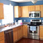 Blue Kitchen with Oak Cabinets