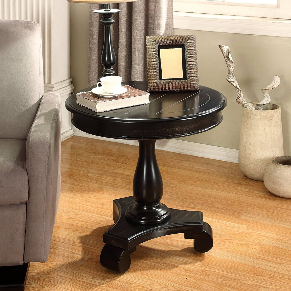Black Round End Table