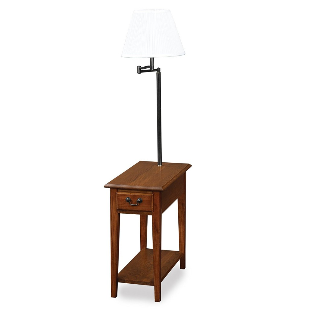 End Table With Attached Lamp And Magazine Rack