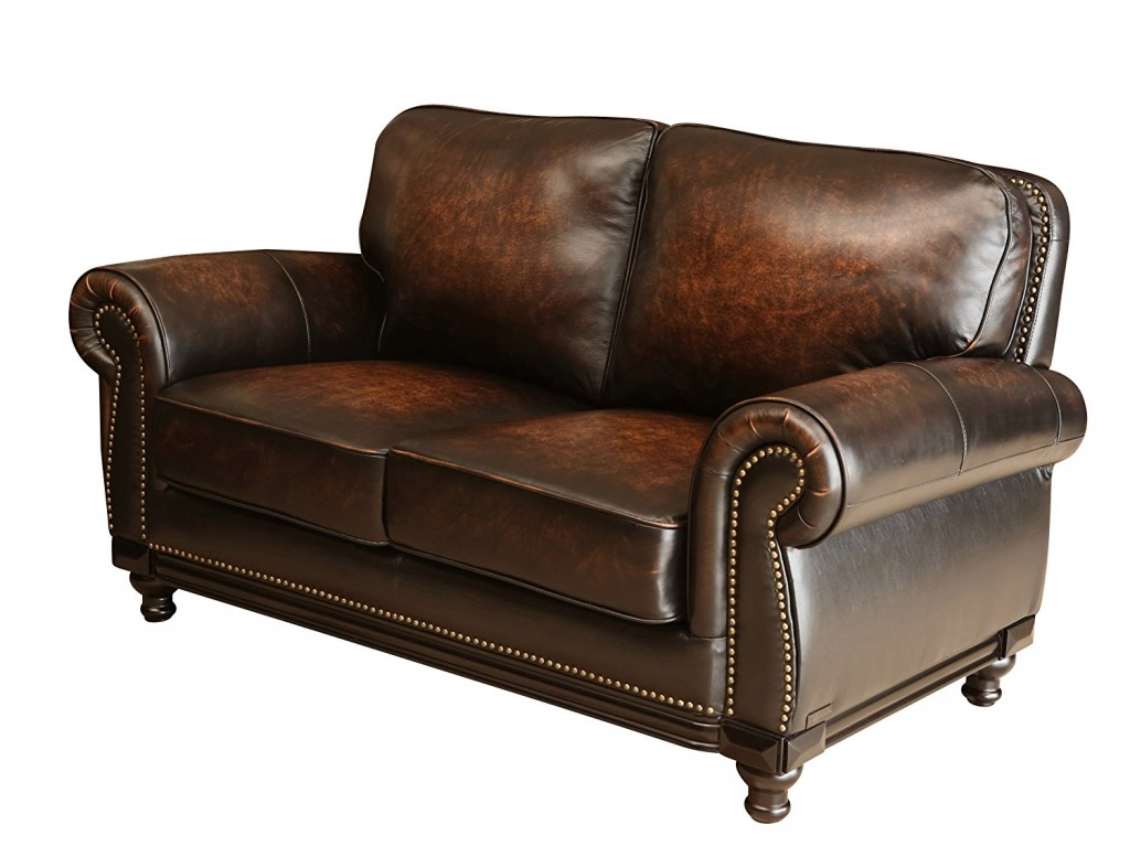 Abbyson Barclay Hand Rubbed Leather Loveseat