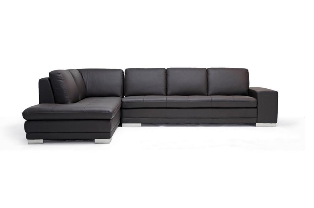 Baxton Studio Callidora Brown Leather Sectional Sofa