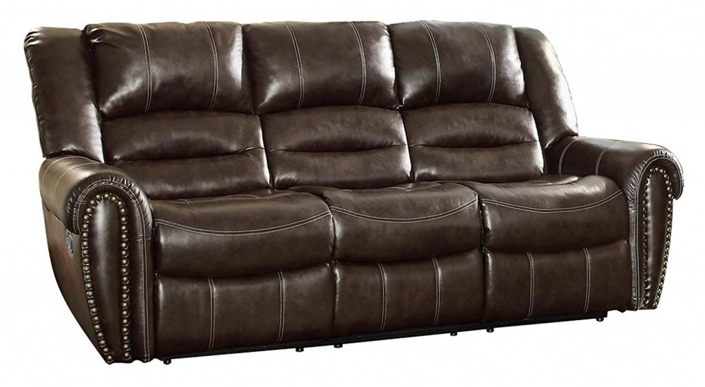 Homelegance 9668BRW 3 Double Reclining Sofa