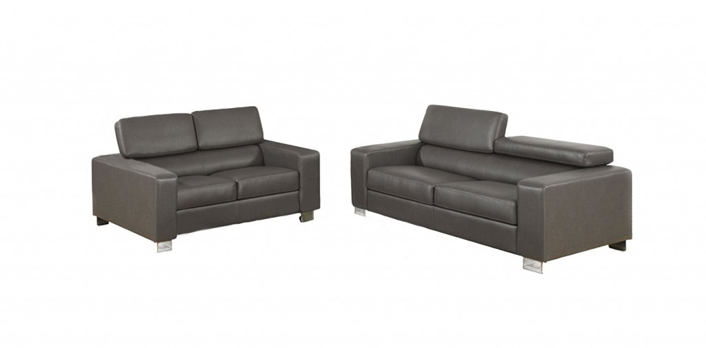 Gray Leather Living Room Sets