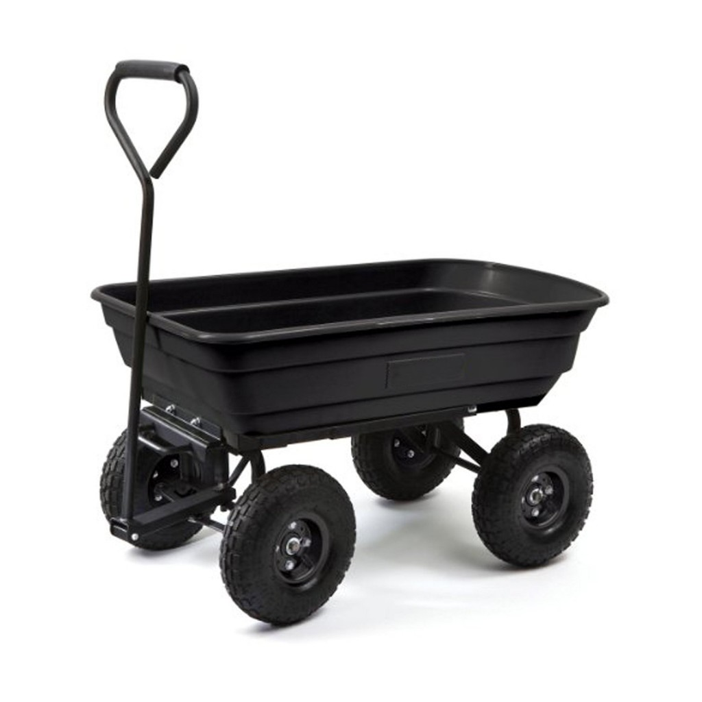 ALEKO TC4235 Heavy Duty Black Garden Dump Cart Wagon