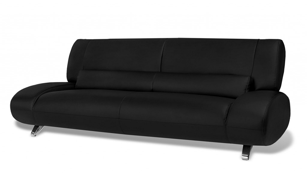 Black Aspen Leather Sofa Set With Loveseat And Chair