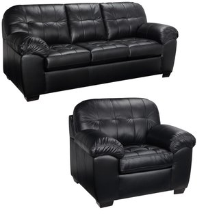 Black Italian Leather Sofa And Chair Set This Living Room Furniture Set