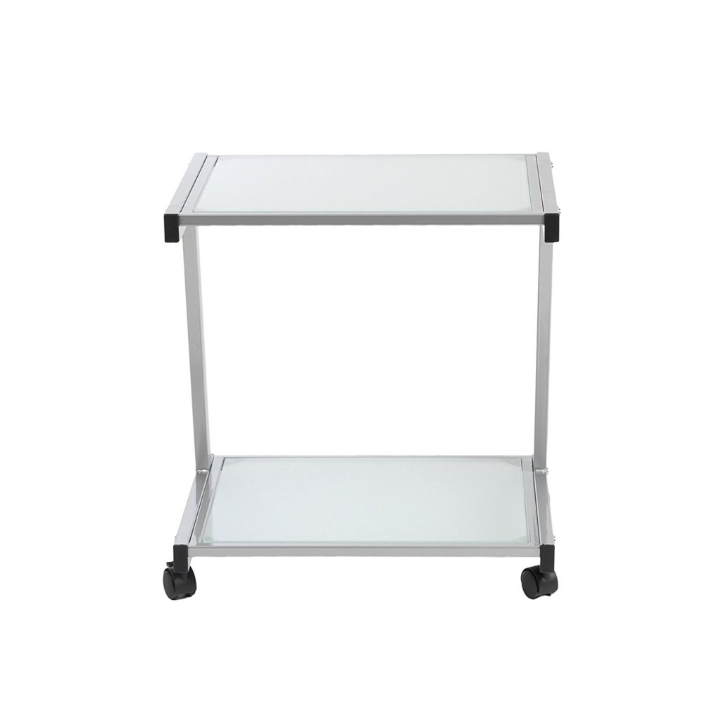 Euro Style L Frosted Glass Top Mobile Printer Cart