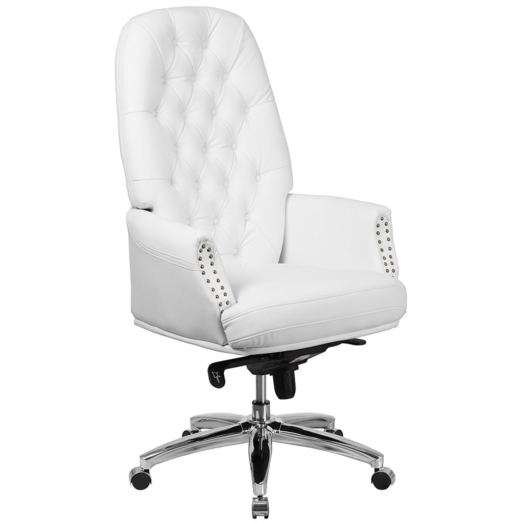 Flash Furniture High Back Traditional Tufted White Leather Multifunction Executive Swivel Chair