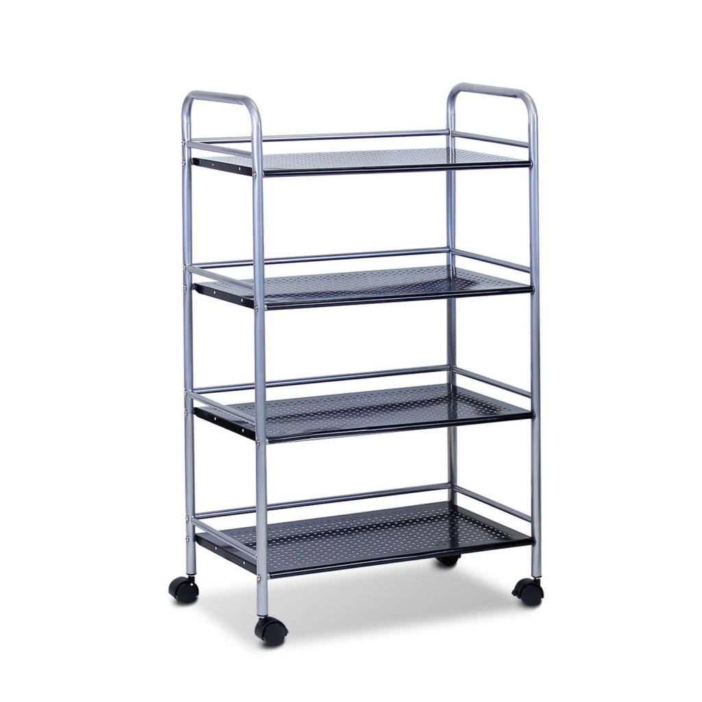 Furinno FNBJ 22081 Metal 4 Tier Rolling Storage Cart