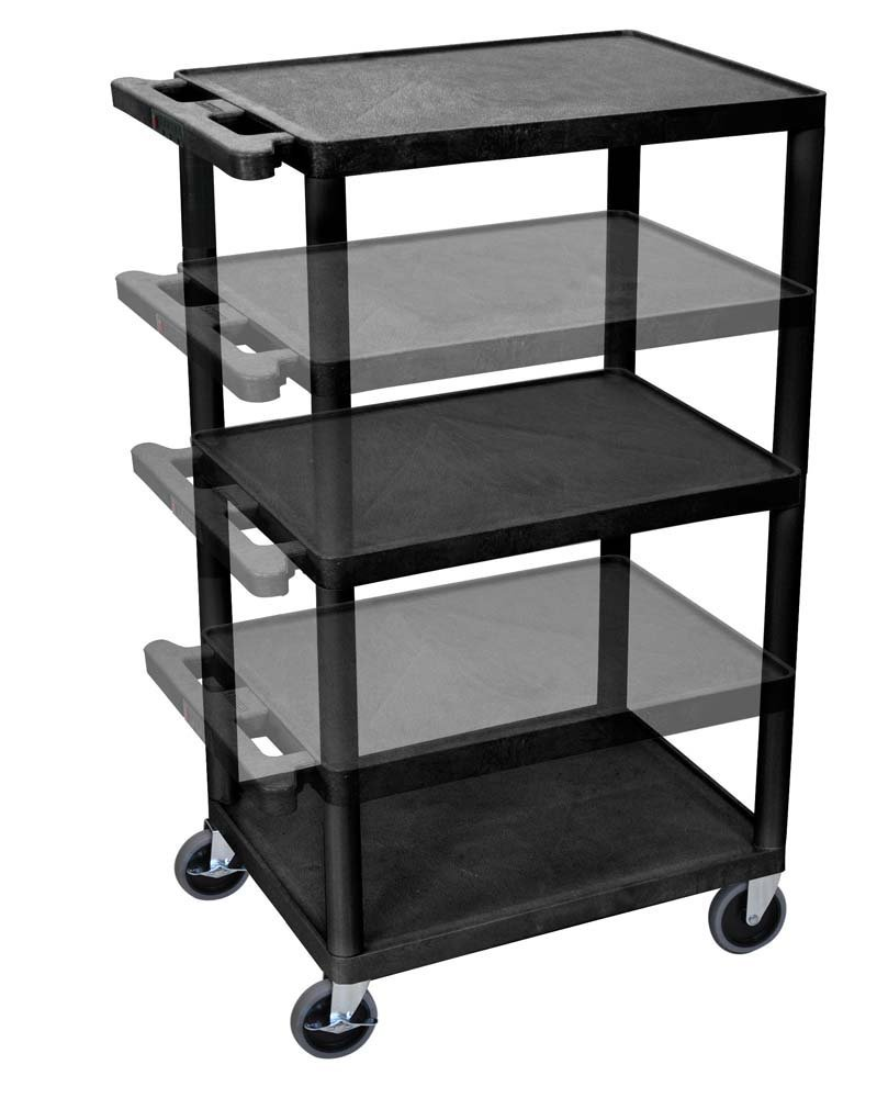 Luxor LPDUOE B Multipurpose 3 Shelves AV Utility Cart