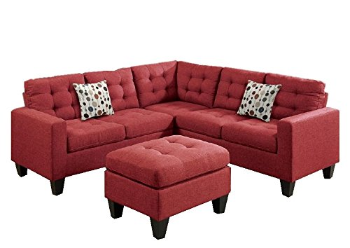 Modern Contemporary Polyfiber Fabric Modular Sectional Sofa And Ottoman Set