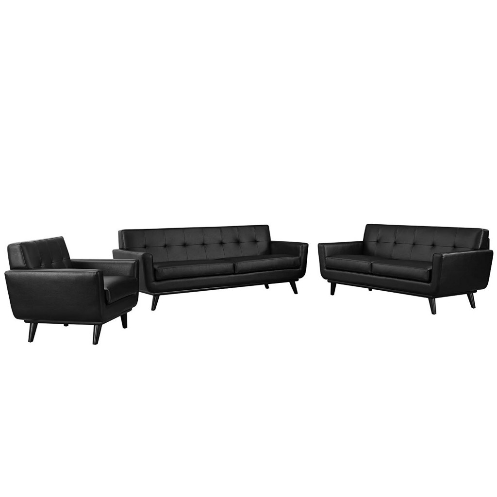 Modway Engage Mid Century Modern Upholstered Leather Sofa