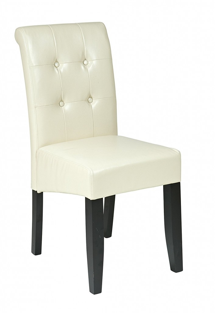 OSP Designs MET88CM Cream Bonded Leather Parsons Chair
