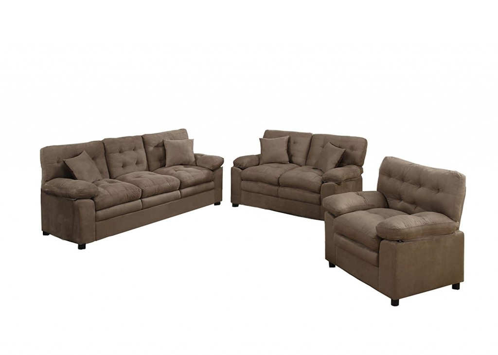Poundex Bobkona Colona Mircosuede 3 Piece Sofa And Loveseat With Chair Set
