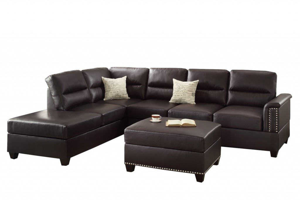 Poundex F7609 Bobkona Toffy Bonded Chaise Sectional With Ottoman Set