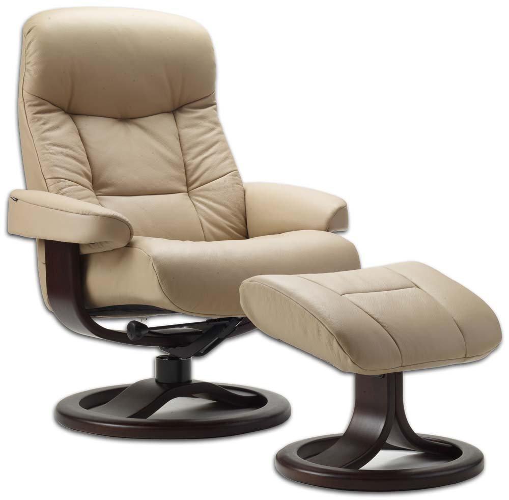 Leather Norwegian Ergonomic Scandinavian Lounge Reclining Chair