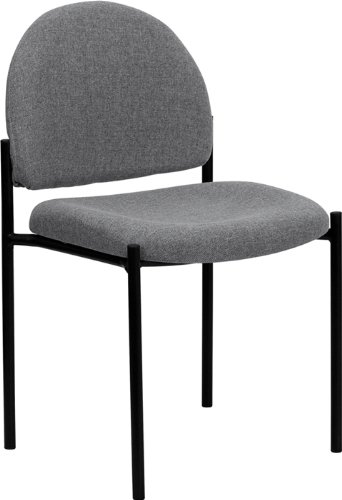 Flash Furniture Comfort Gray Fabric Stackable Steel Side Reception Chair