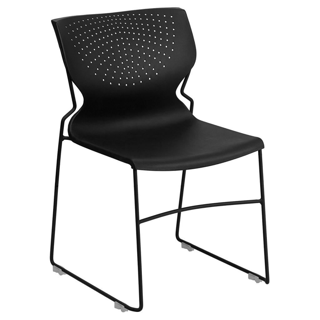 Flash Furniture HERCULES Series 661 Lb. Capacity Black Full Back Stack Chair