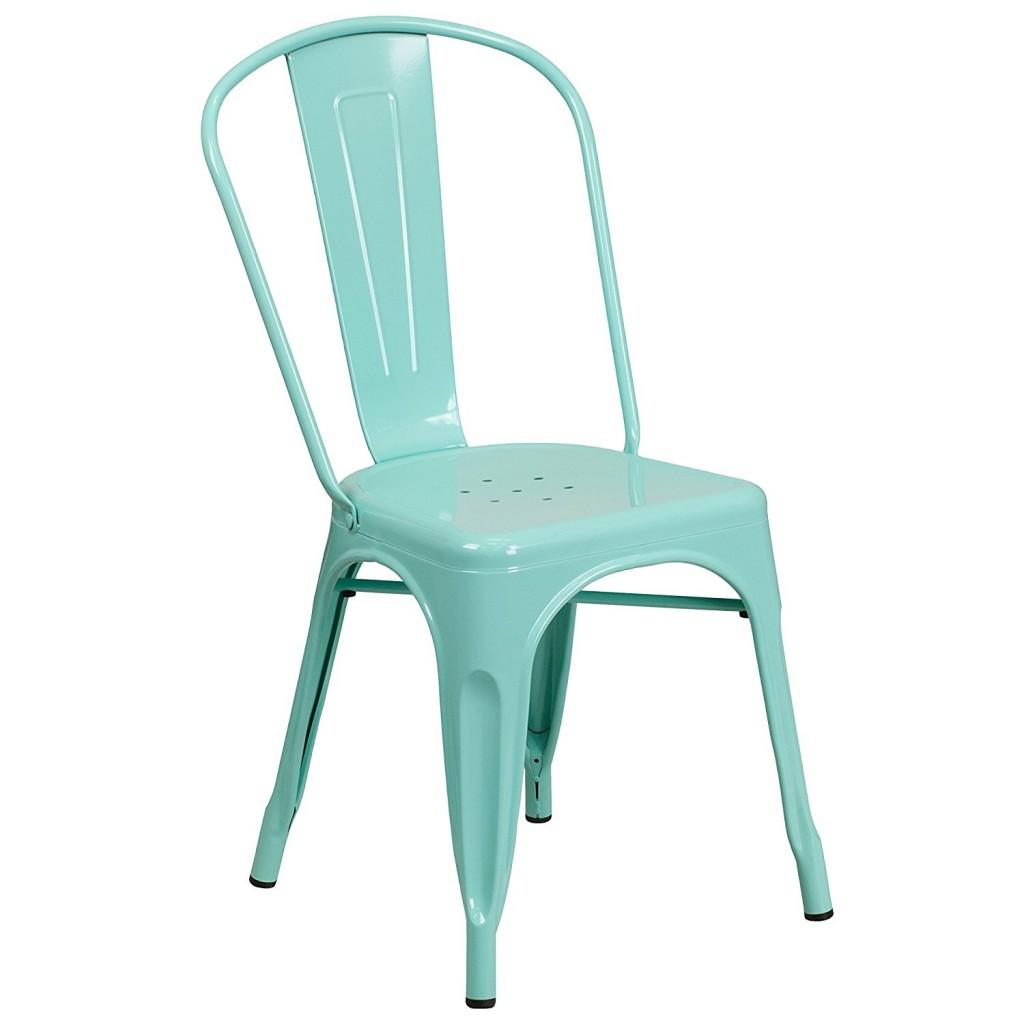 Flash Furniture Mint Green Metal Indoor Outdoor Stackable Chair