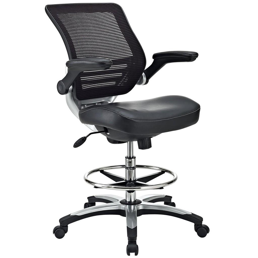Modway Edge Drafting Chair In Black Vinyl Reception Desk Chair