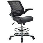 Modway Edge Drafting Chair In Black Vinyl Reception Desk Chair