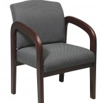 Office Star Visitors Chair With Espresso Finish Base And Arms