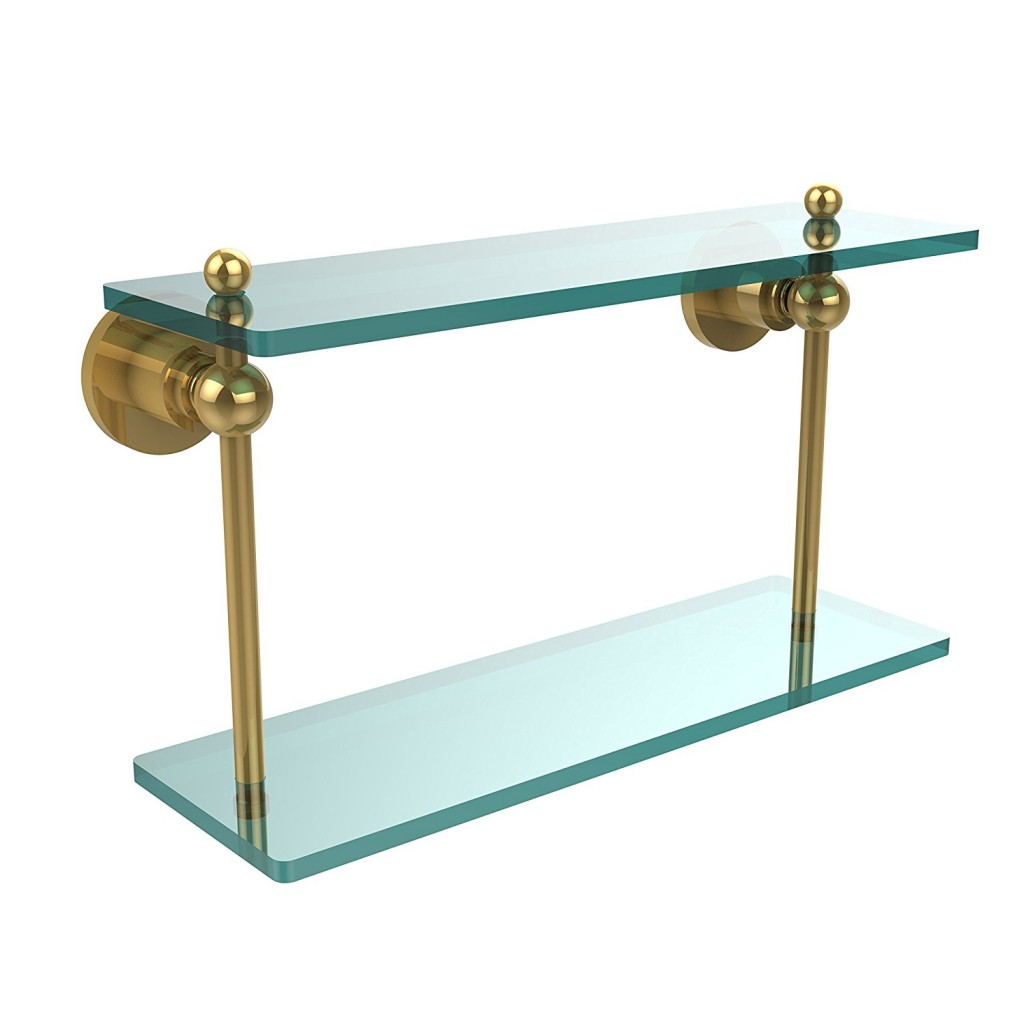 Allied Brass AP 2 16 PB 16 Inch By 5 Inch Double Glass Shelf