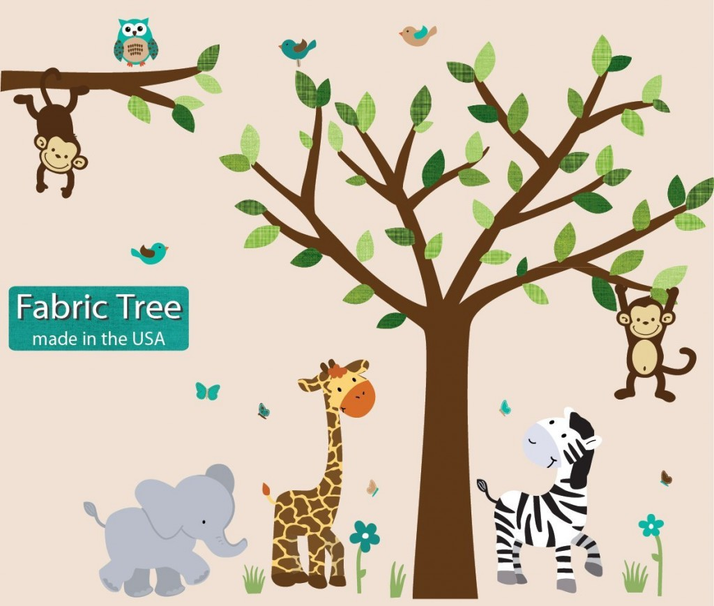 Fabric Safari Evergreen Jungle Tree Wall Decals