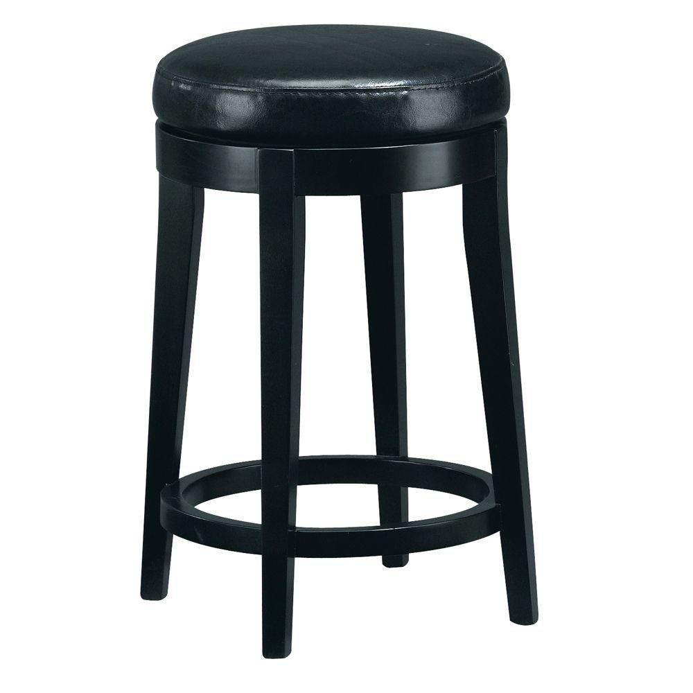 Leather Non Tufted Swivel Counter Stool