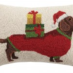 Peking Handicraft Christmas Dachshund Hook In Presents Wool Lumbar Pillow