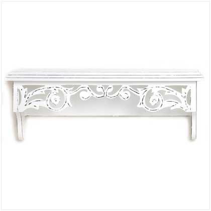 Shabby Elegance Country Cottage Whitewashed Wall Shelf