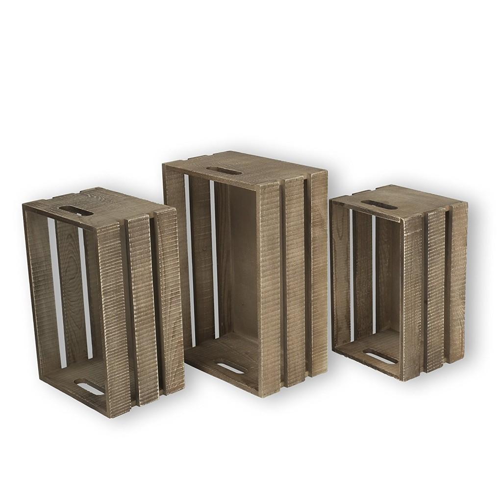 WALLNITURE Kitchen Storage Wine Rack Wooden Crate Basket