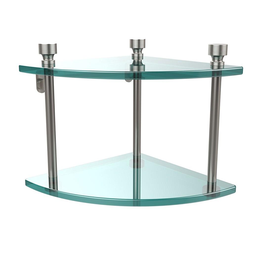 Allied Brass FT 3 SN Double Corner Glass Shelf Satin Nickel