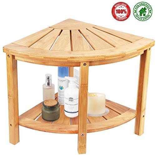 Corner Shower Bench & Seat & Stool With 2 Tire Storage Shelf