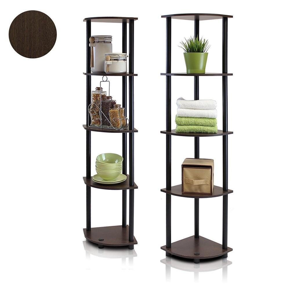 Furinno 99811DB WG BK Turn N Tube 5 Tier Corner Multipurpose Display Shelves