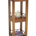 The Original Sula Square Three Tier Teak & Stainless Bath Stand